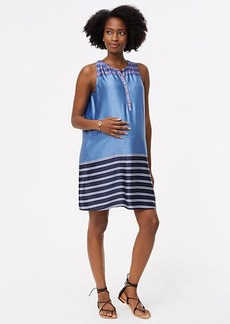 Maternity Mixed Stripe Henley Swing Dress