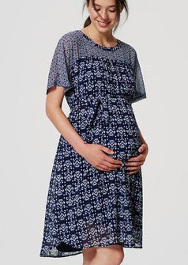 LOFT Maternity Mosaic Tie Waist Dress