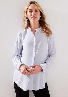 LOFT Maternity Pearlized Pleated Cuff Utility Blouse