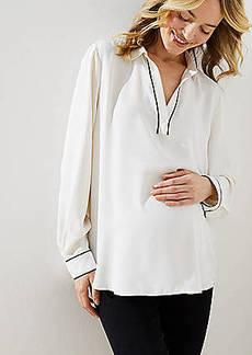 LOFT Maternity Piped Collar Split Neck Blouse