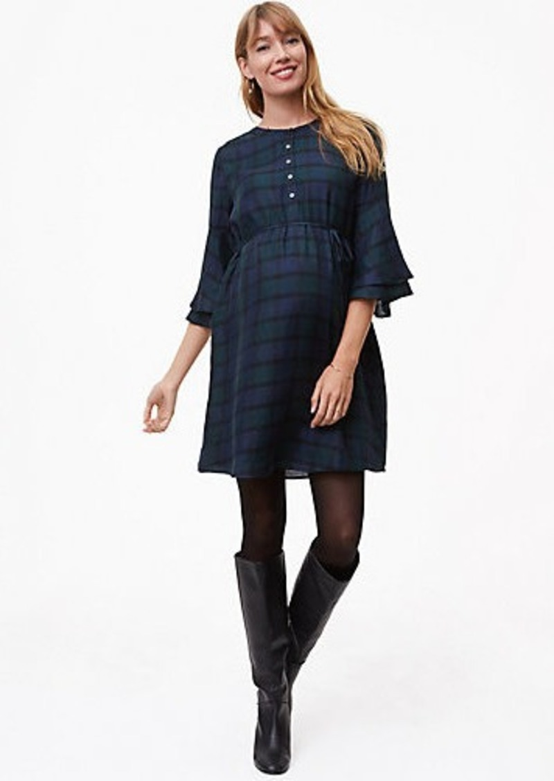 LOFT Maternity Plaid Bell Sleeve Shirtdress