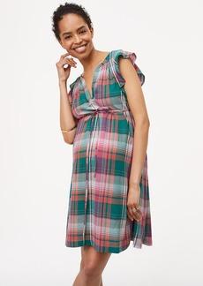 Maternity Plaid Flutter Dress