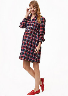 Maternity Plaid Smocked Shirtdress