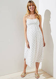 LOFT Maternity Polka Dot Strappy Dress