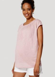 LOFT Maternity Relaxed Skinny Denim Shorts in White
