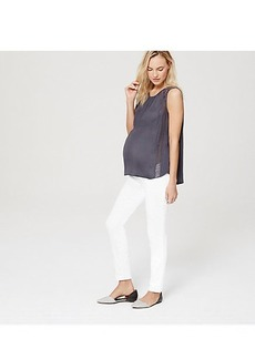 LOFT Maternity Roll Panel Skinny Jeans in White