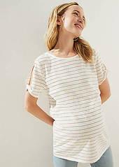 LOFT Maternity Shimmer Stripe Vintage Soft Twist Sleeve Tee