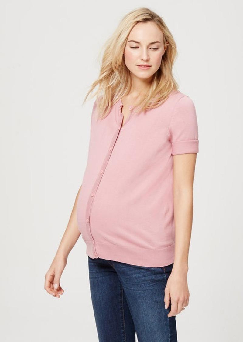 LOFT Maternity Short Sleeve Cotton Cardigan