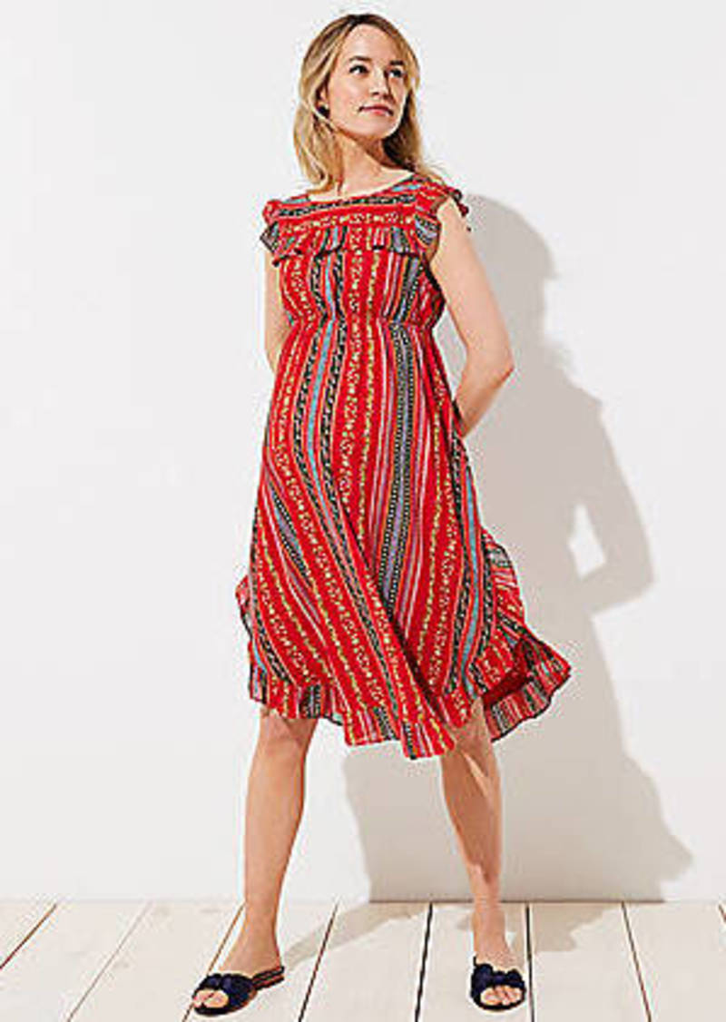 LOFT Maternity Sirena Ruffle Dress