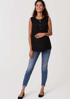Maternity Skinny Crop Jeans in Bright Mid Indigo Wash