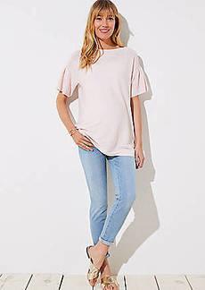 LOFT Maternity Skinny Crop Jeans in Light Indigo