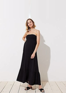 LOFT Maternity Smocked Strapless Maxi Dress