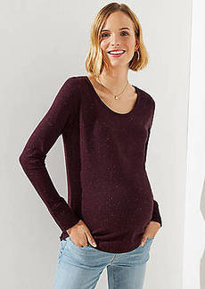 LOFT Maternity Speckled Long Sleeve Shirttail Tee