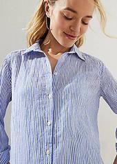 LOFT Maternity Striped Button Down Tunic Shirt