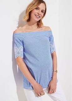 LOFT Maternity Striped Eyelet Off The Shoulder Tee