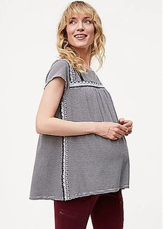 LOFT Maternity Striped Lace Trim Tee