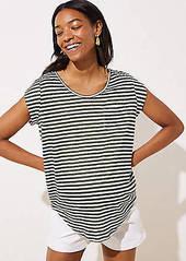 LOFT Maternity Striped Pocket Linen Tee