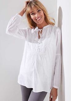 LOFT Maternity Tasseled Tie Neck Bib Blouse