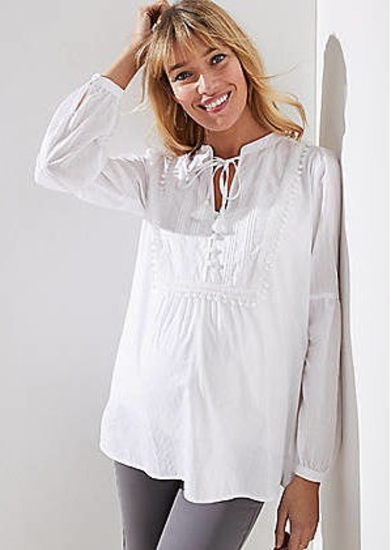 95f819413e47ad LOFT Maternity Tasseled Tie Neck Bib Blouse Now $30.00