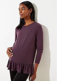 LOFT Maternity Textured Long Sleeve Peplum Tee