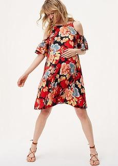 Maternity Tropic Cold Shoulder Swing Dress