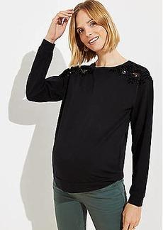 LOFT Maternity Velvet Lace Shoulder Sweatshirt