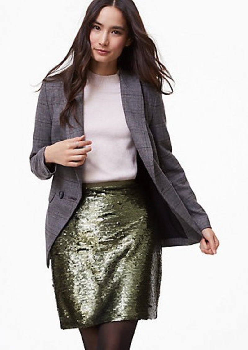 LOFT Matte Sequin Shift Skirt