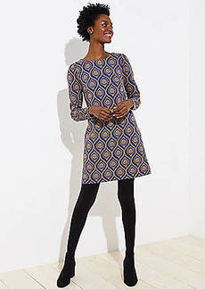 LOFT Medallion Jacquard Puff Sleeve Shift Dress