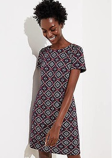LOFT Medallion Jacquard Shoulder Button Dress