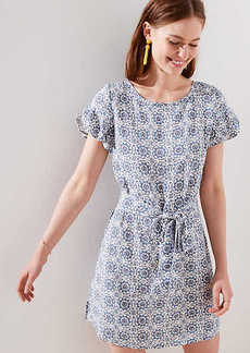 LOFT Medallion Petal Sleeve Tie Waist Dress