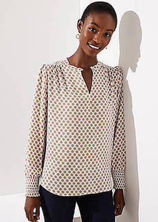 LOFT Medallion Smocked Cuff Blouse