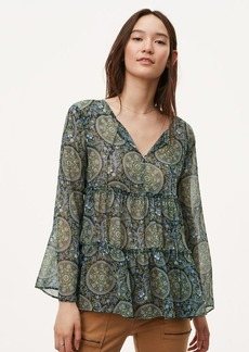 Medallion Tiered Bell Sleeve Blouse