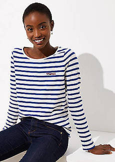 LOFT Merci Embroidered Striped Tee