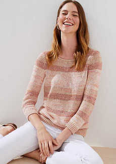 LOFT Shimmer Striped Sweater