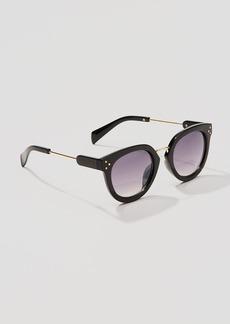 Metallic Trim Round Sunglasses
