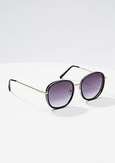 LOFT Metallic Trim Round Sunglasses