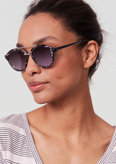 LOFT Mirrored Bar Round Sunglasses