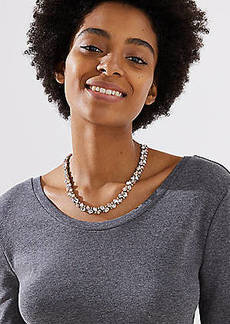 LOFT Mixed Crystal Statement Necklace