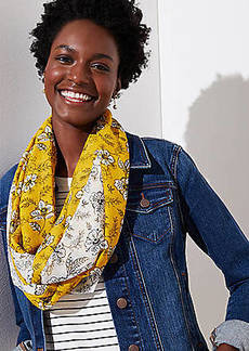 LOFT Mixed Floral Infinity Scarf