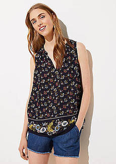 LOFT Mixed Floral Shirred Split Neck Shell