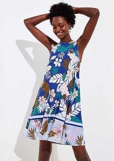 LOFT Tropical Floral Flounce Sleeveless Swing Dress
