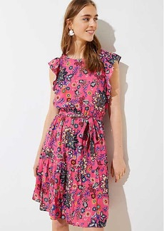 Mixed Floral Tie Flutter Dress