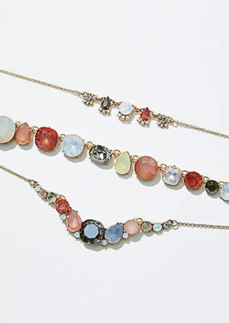 LOFT Mixed Gem Layered Necklace