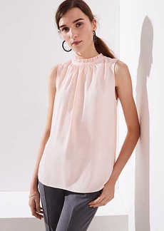 LOFT Mixed Media Ruffle Neck Shell