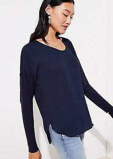 LOFT Mixed Media Shirttail Top