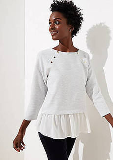LOFT Mixed Media Shoulder Button Sweatshirt