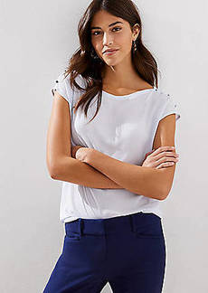 LOFT Mixed Media Shoulder Button Top