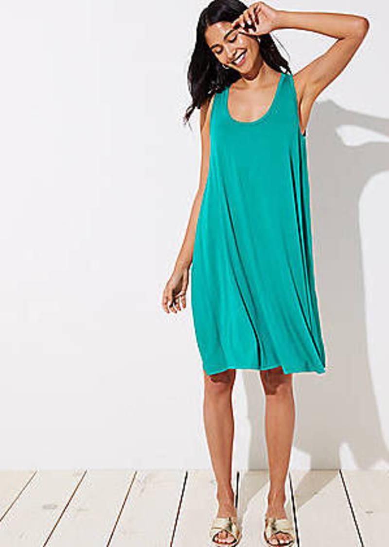LOFT Mixed Media Sleeveless Swing Dress
