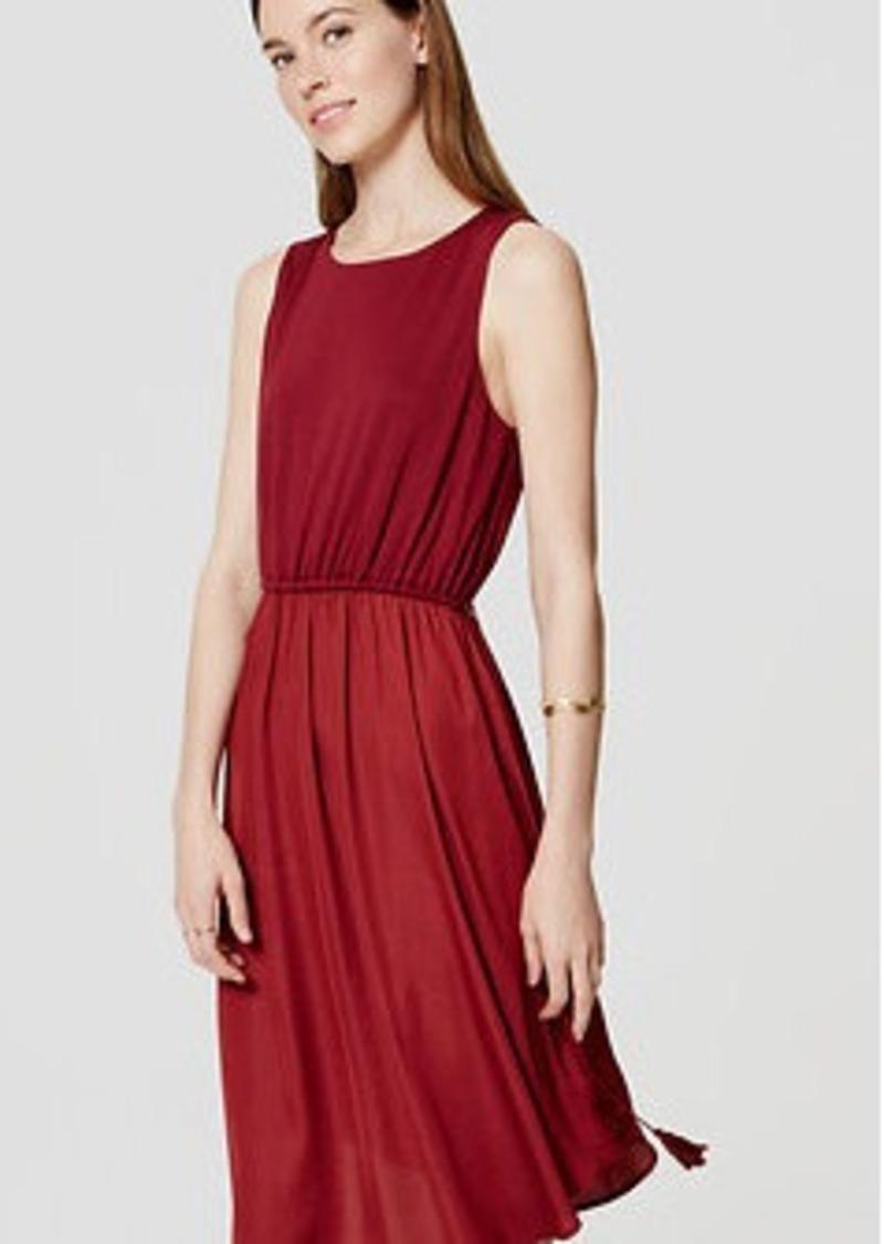 LOFT Mixed Media Tasseled Midi Dress