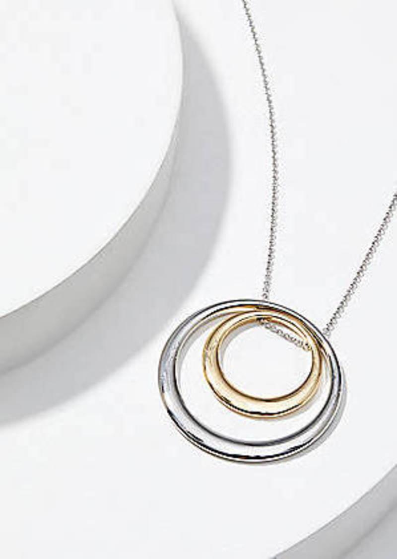 LOFT Mixed Metal Circle Pendant Necklace